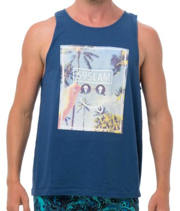 SMIRKING SKY PHOTO NAVY SINGLET