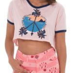 PEACE OF MIND PINK BLUE MARISSA CROP TEE